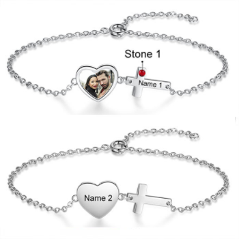 CBA103733 - Personalized Photo, Name & Birthstone Bracelet, Stainless Steel