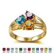 CRI102344 - Gold Plated 925 Sterling Silver Personalized Names & Birthstone Hearts Ring