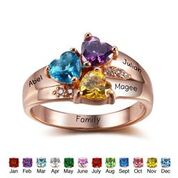 CRI102345 - Rose Gold Plated 925 Sterling Silver Personalized Names & Birthstone Hearts Ring
