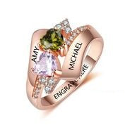 CRI103584 - Rose Gold Plated 925 Sterling Silver Personalized Ring