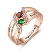 CRI103656 - Rose Gold Plated 925 Sterling Silver Personalized Ring