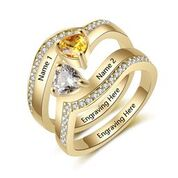 CRI103607 - Gold Plated 925 Sterling Silver Personalized Names & Birthstones Ring