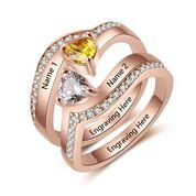 CRI103701 - Rose Gold Plated 925 Sterling Silver Personalized Names & Birthstones Ring