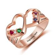CRI103713 - Rose Gold 925 Sterling Silver Personalized Ring