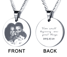 N290-CNE101324 - Stainless Steel Personalized Photo & Wording Necklace