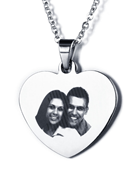 EJ89 - Personalized Photo Heart Necklace with engraving on the back, Stainless Steel