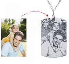 silver personalized photo picture dog tag necklace