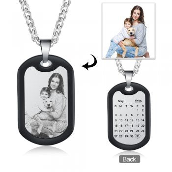 CNE105384 - Personalized Men's Photo Dog Tag Necklace, Stainless Steel