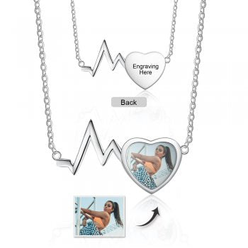 CNE105152 - Personalized Photo Heart Beat Necklace, Stainless Steel