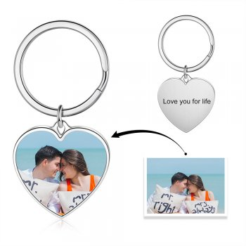 CAS102711 - Personalized Photo Heart keyring, Titanium Steel