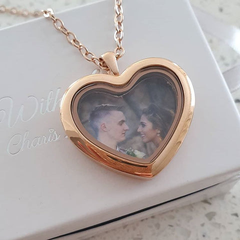SET35 - Personalized Photo Heart Floating Locket Necklace, Rose Gold No Stones