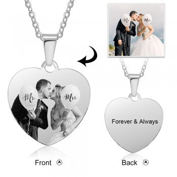 Personalized photo necklace stainless steel