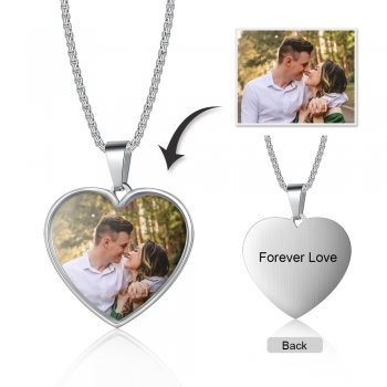 CNE104982 - Personalized Photo Heart Necklace, Stainless Steel