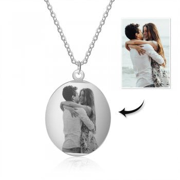 CNE105276 - Personalized Photo Necklace with engraving, Stainless Steel