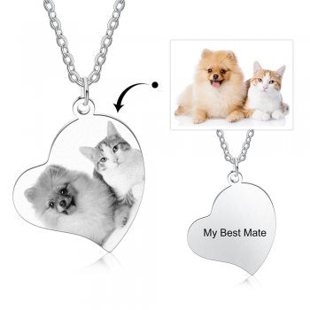 CNE105278 - Personalized Photo Necklace with engraving, Stainless Steel