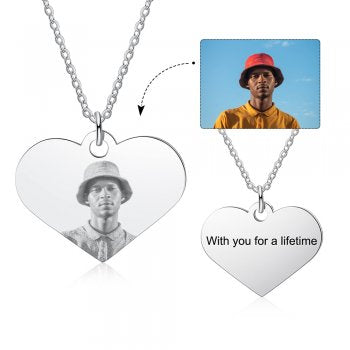 CNE105279 - Personalized Photo Necklace with engraving, Stainless Steel