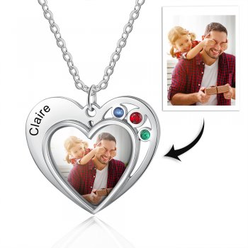 CNE105294 - Personalized Photo Necklace with engraving, Stainless Steel