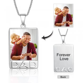 CNE105310 - Personalized Photo Necklace with engraving, Stainless Steel