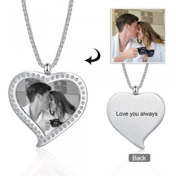 CNE105500 - Personalized Photo Necklace with engraving, Stainless Steel