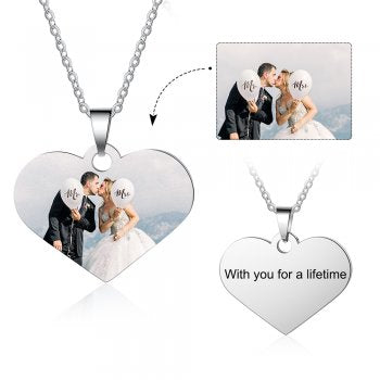 CNE104647 - Personalized Photo Necklace, Titanium Stainless Steel