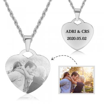 CNE104724 - Personalized Photo Necklace, Stainless Steel