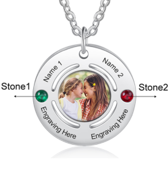 CNE105130 - Personalized Family Names Photo Necklace, Stainless Steel