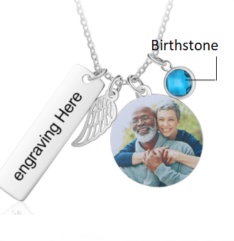 CNE104645 - Personalized Photo Necklace with Birthstone, Stainless Steel