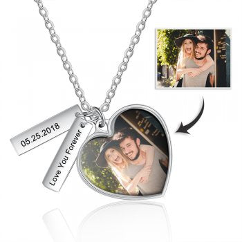 CNE105131 - Personalized Photo Necklace with engraving, Stainless Steel