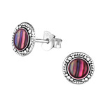 C940-C30902 - 925 Sterling Silver Patterned Abalone Shell Earrings 8mm