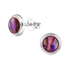 C332-C30896 - 925 Sterling Silver Abalone Shell Earrings 8mm