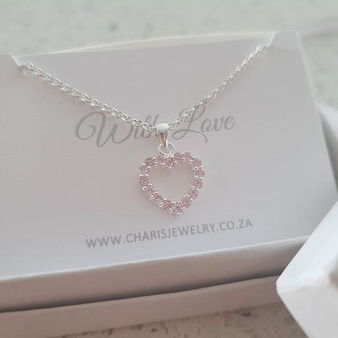 C13071 - 925 Sterling Silver Heart Pink CZ Stone Necklace