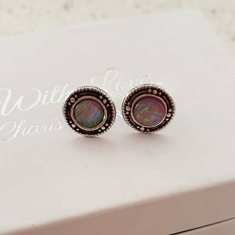 C1398-C32038 - 925 Sterling Silver Pink SN Opal Earrings 9mm