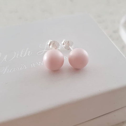 C1313-C22925 - 925 Sterling Silver Pastel Pink Ear Stud Earrings 8mm