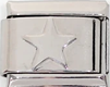 STS-10 - Star Plain Italian Charm Link, Stainless Steel