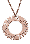 N149 - Circle Name 925 Sterling Silver Necklace in 18K Rose Gold Plating - Up to 3 Names