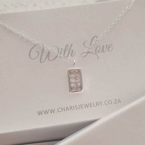 C963-C40222 - 925 Sterling Silver CZ Rectangle Necklace, 5.5x10cm, 45cm chain