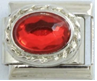 E-212 - Red Oval Stone Italian Charm Link, Stainless Steel