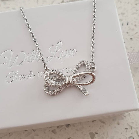 SS44-CB0212624 - Silver Stainless Steel Love / Friendship Knot Bow Necklace
