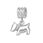 C1172-C29538 - 925 Sterling Silver Dog CZ European Dangle Charm