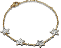 C1182-C14941 - Gold Plated Stainless Steel & Crystals Star Bracelet, Adjustable