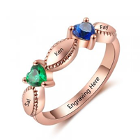 NJ521-CRI103692 Rose Gold Plated Sterling Silver Personalized Names & Birthstones Ring