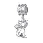 C1173-C28868 - 925 Sterling Silver Cat CZ European Dangle Charm