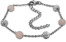 C1180-C15016 - Pink and Crystals Adjustable Size Bracelet, Stainless Steel