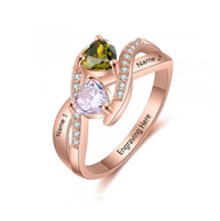 NJ508-CRI103674 Rose Gold Plated Sterling Silver Personalized Names & Birthstones Ring