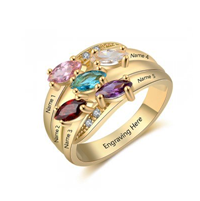 NJ513-CRI103563 Gold Plated Sterling Silver Personalized Names & Birthstones Ring