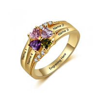 NJ510-CRI103542 - Gold Plated 925 Sterling Silver Personalized Ring