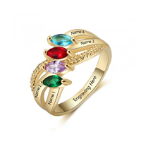 NJ511-CRI103561 Gold Plated Sterling Silver Personalized Names & Birthstones Ring