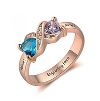 NJ519-CRI103668 Rose Gold Plated Sterling Silver Personalized Names & Birthstones Ring