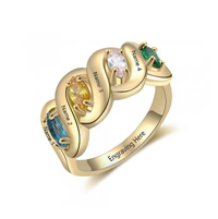 NJ516-CRI103571 Gold Plated Sterling Silver Personalized Names & Birthstones Ring