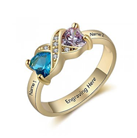 NJ520-CRI103565 Gold Plated Sterling Silver Personalized Names & Birthstones Ring